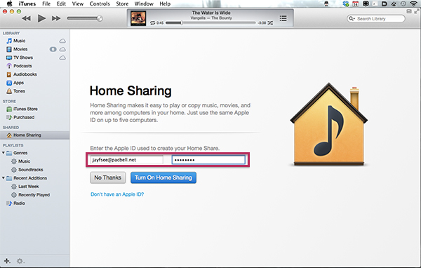 iTunes Home Sharing - Enter Apple ID and Password