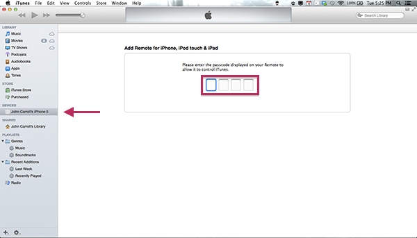 iTunes Pairing Remote From iPhone or iPad