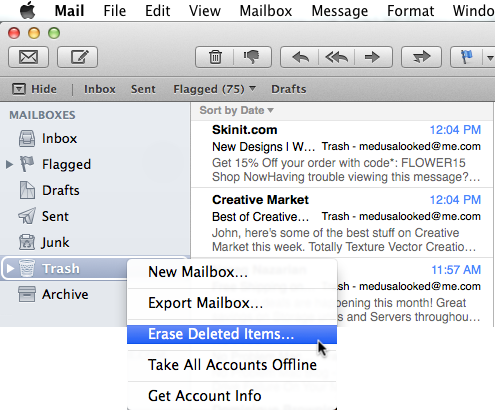 cannot empty trash mac mail