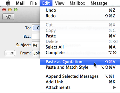 Apple Mail Paste As Quotation
