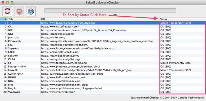 Apple Mac Safari Bookmarkchecker - Sort Bookmark Validation Status