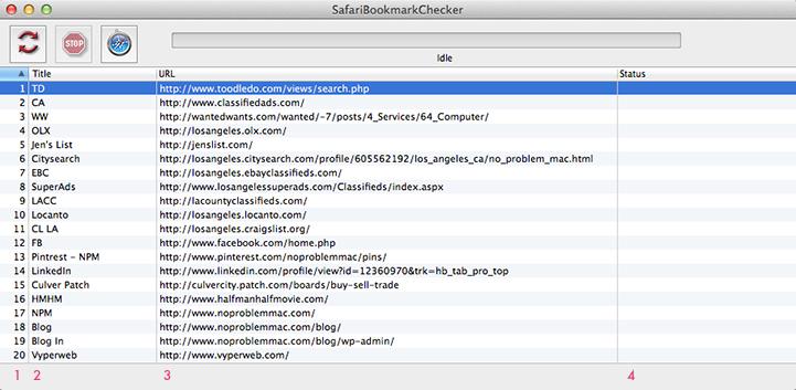 Apple Mac Safari Bookmarkchecker - Main WIndow