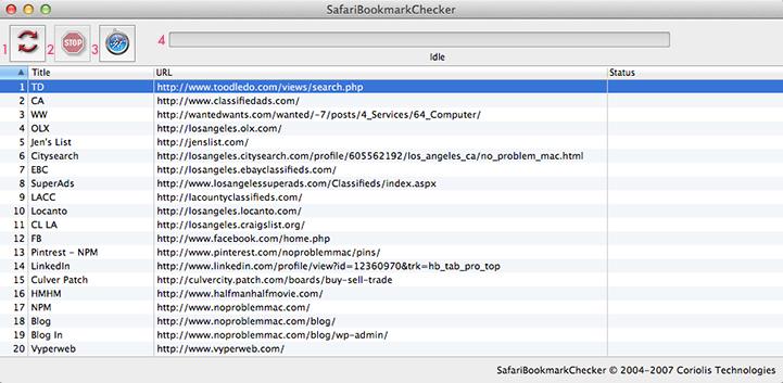 Apple Mac Safari Bookmarkchecker - Toolbar