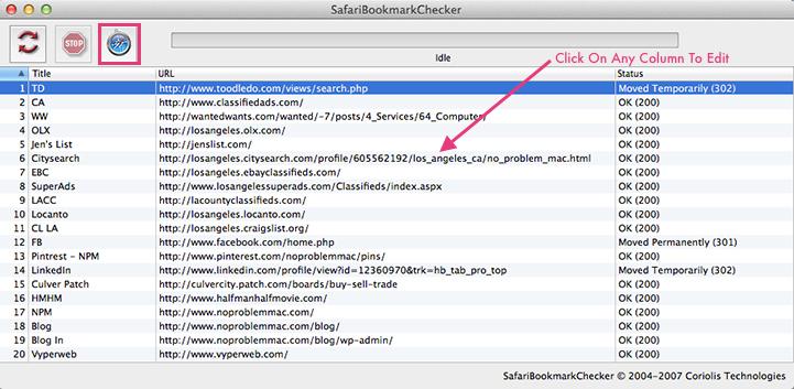 Apple Mac Safari Bookmarkchecker - Edit Bookmarks