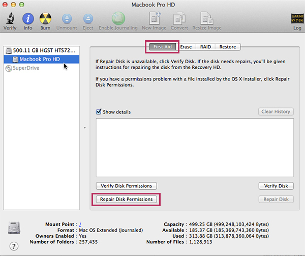 Apple Mac OSX 10.9 Mavericks - Disk Utility First Aid