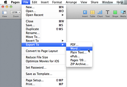 New Pages - Exporting As A Word Document