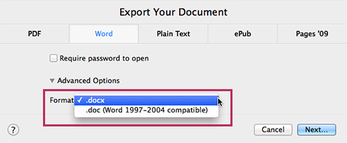 New Pages - Word Document Export Options