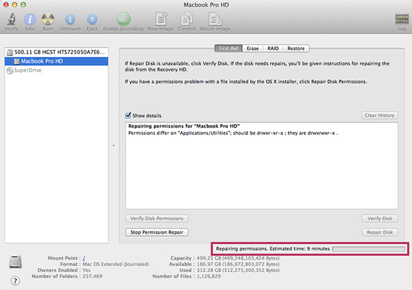 Apple Mac OSX 10.9 Mavericks - Disk Utility Repair Permissions