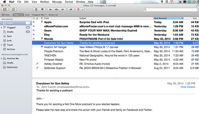 mac mail show message preview bottom