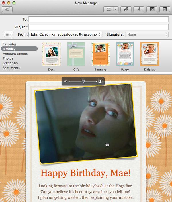 Apple Mail - Stationery - Image Adjustments