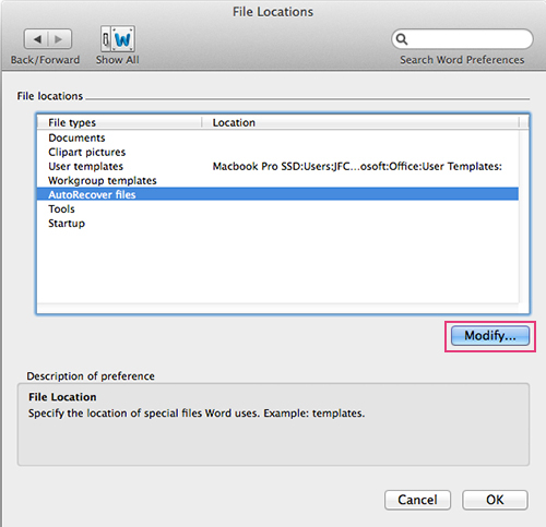 Microsoft Word For Mac - Change AutoRecovery File Location