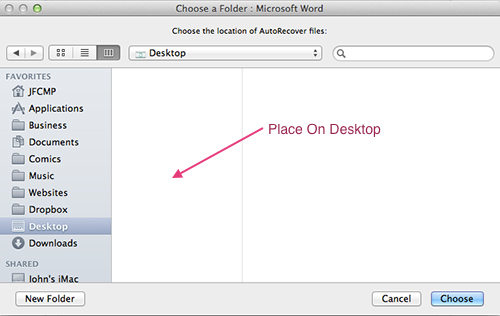 Microsoft Word For Mac - New AutoRecovery File Location
