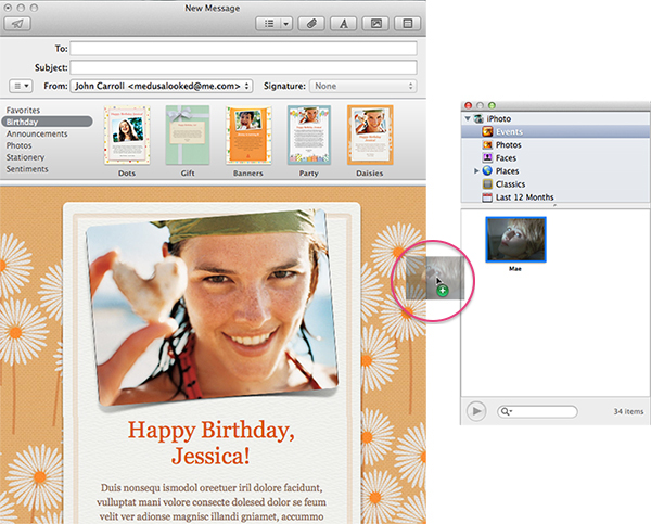 Apple Mail - In The Process o Dropping An Image Into Apple Stationery