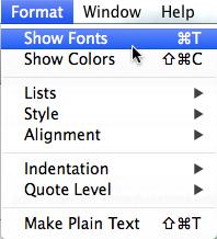 Apple Mail - Shoe Fonts