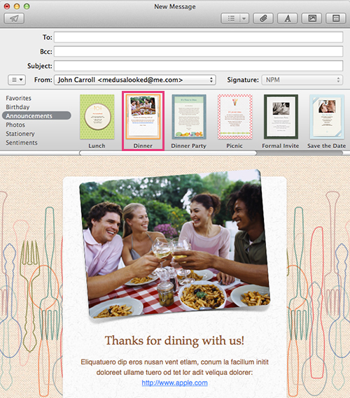 Apple Mail - New Message - Thank You Stationery