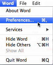 Microsoft Word For Mac Preferences Menu