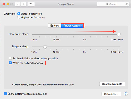 OSX Yosemite - Energy Saver Preference