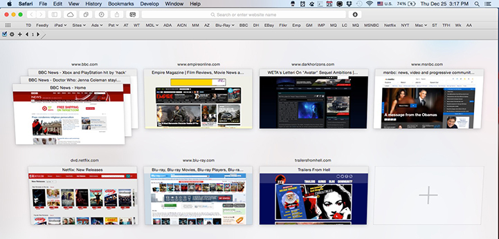 Safari In Tab View With Multiple Open Sites