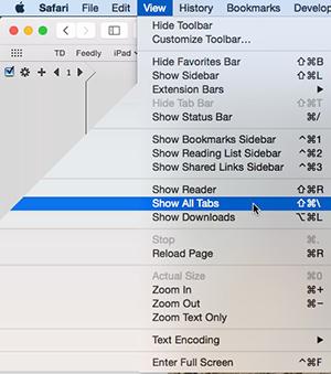 Safari - Show all tabs command