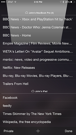 iOS iPhone Showing iCloud tabs