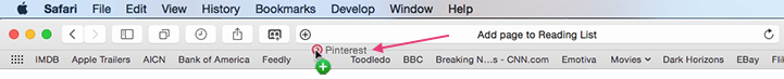 Safari - How to add to the Favorites Bar