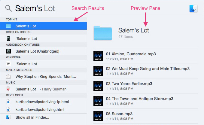 Apple Mac Spotlight Preview Pane