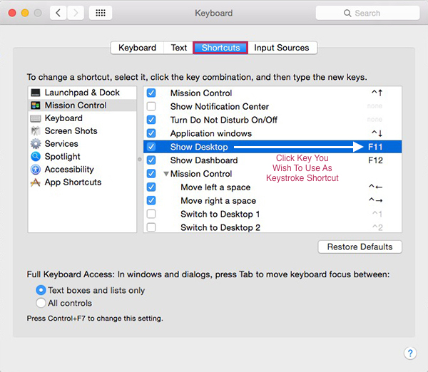 Mac OSX System Preferences - Program Keyboard Shortcut