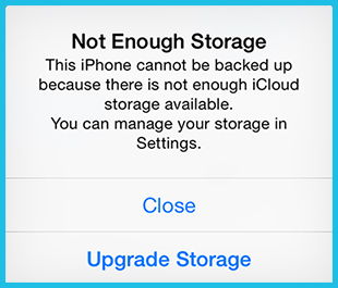 iCloud Not Enough Storage Message
