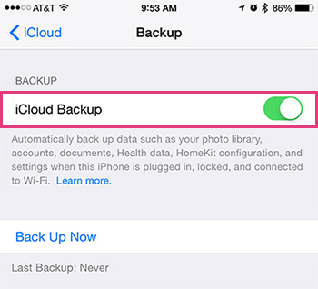 Turning iCloud Backup On and Off On The iPhone