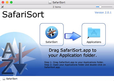 SafariSort Drag to Applications Dialog box
