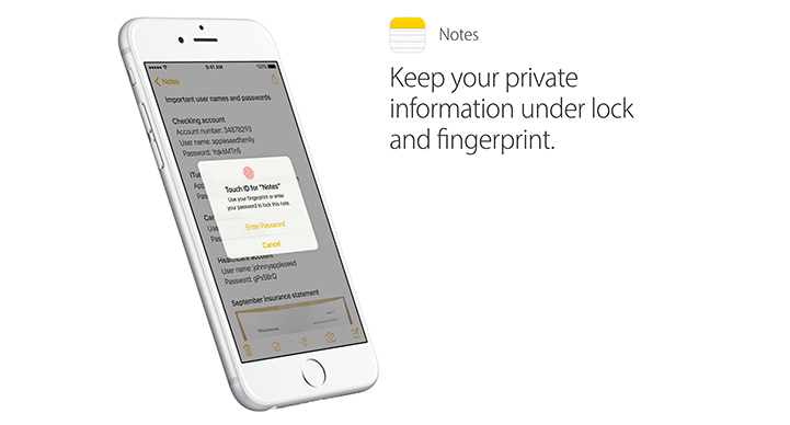 iOS 9.3 Secure Notes