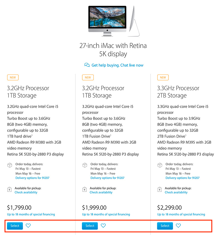 "Apple Store - 27"" 5K iMac Purchase Selections"