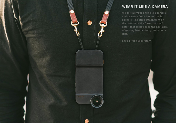 Moment System for iPhone - Neck strap being worn
