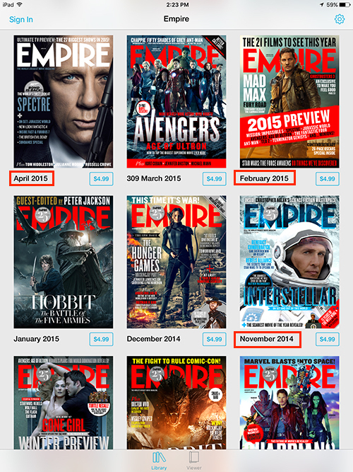Empire Movie Magazine iPad Old Issues