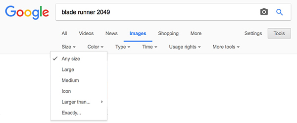 Google Images - Tools - Size