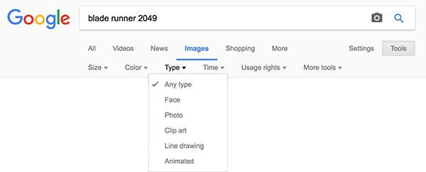 Google Images - Tools - Type