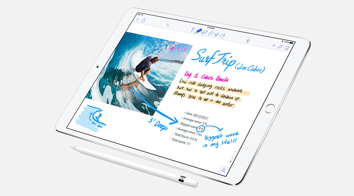 "10.5"" iPad Pro with drawing and notes"
