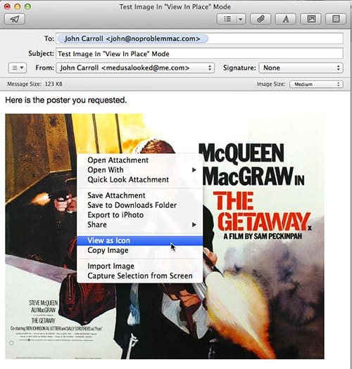 Apple Mail contextual menu for Image
