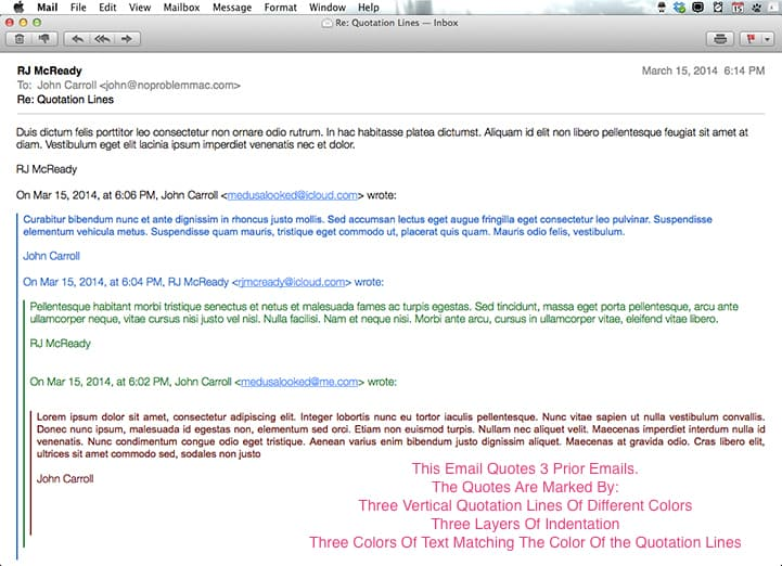 Email with colored lines