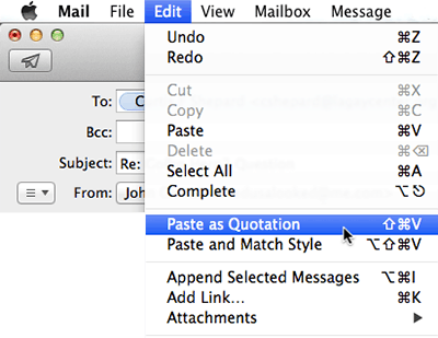 Apple Mail Paste Quotation