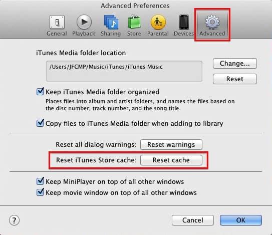 Advanced iTunes Cache Reset