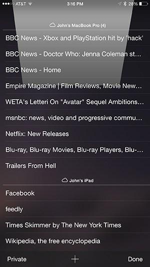 iOS iCloud Tabs List