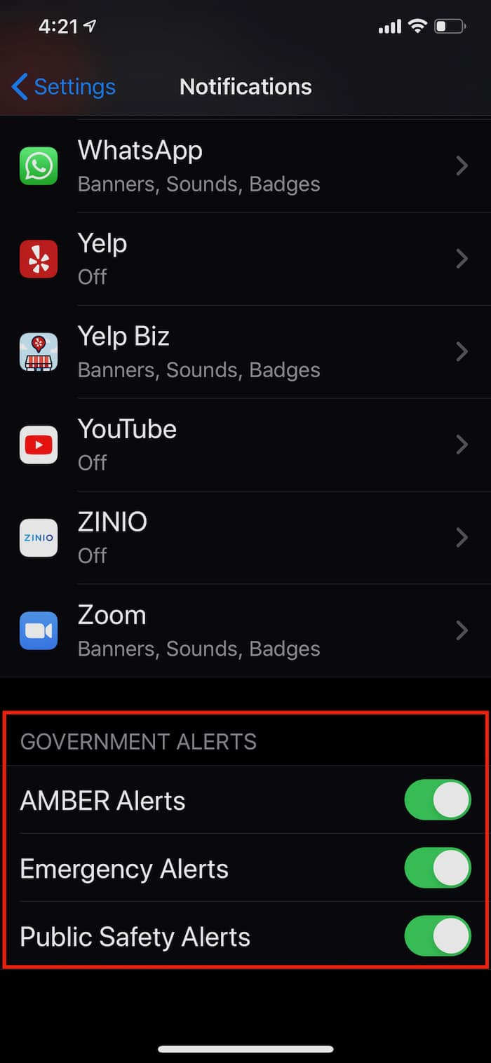 iPhone Government Alerts